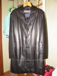 Фирменное кожанное пальто - кардиган Gregory Arber р. 48 , состояние нового