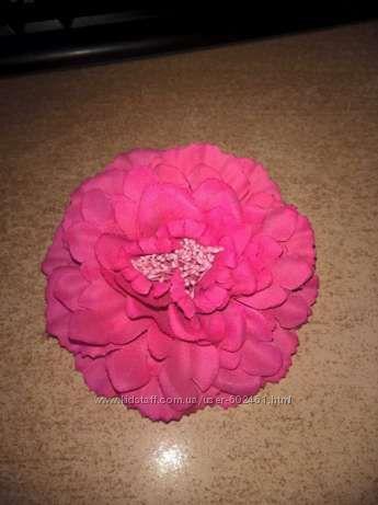Заколка брошка розовый цветок для волос
