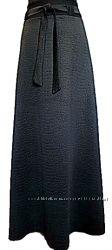 Длинная черная юбка из жаккарда.  42-58.