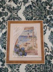 Картина вышитая крестиком Вид из окна, ручная работа