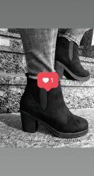 Ботинки на квадратнм каблуке нубук