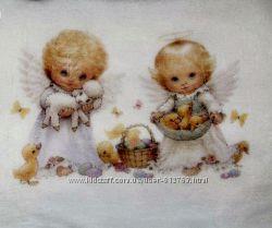 Крыжма, полотенце для крещения, белая с ангелочками