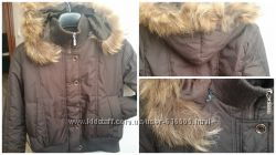 Коричневая куртка с мехом