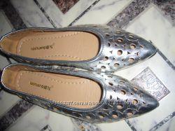 Лодочки туфли  женские новые на девочку 36 р-р 23, 5 см стелька металик