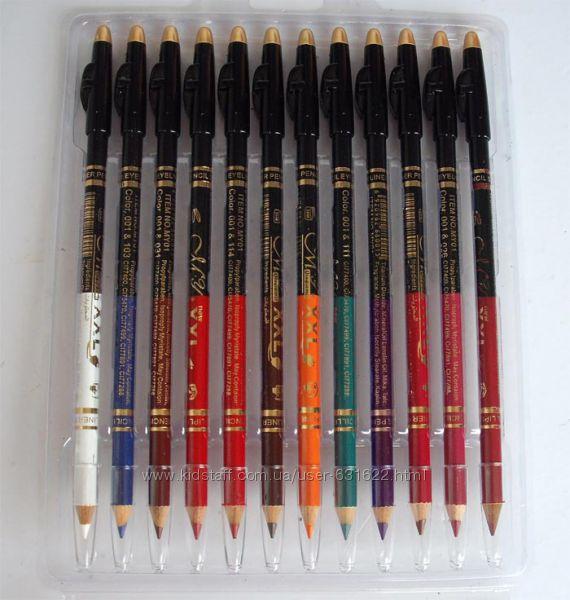 Набор из 12 двусторонних карандашей с точилкой