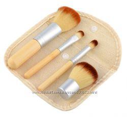 Набор 4 кистей, кисти из бамбука для минеральной косметики
