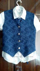 Форма синяя сарафан, жилет , блуза, гольф