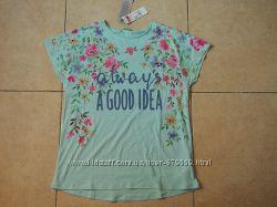 футболка benetton цветы блестки 160, 120 органический хлопок