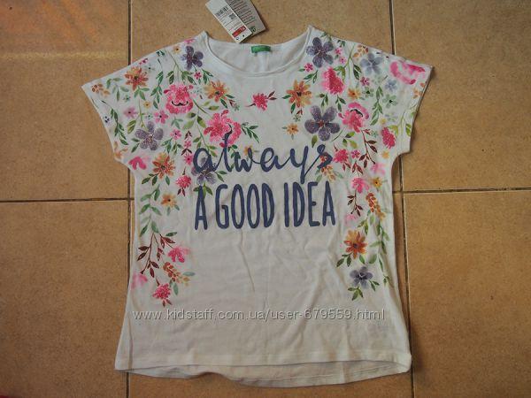 футболка benetton цветы блестки 150 органический хлопок