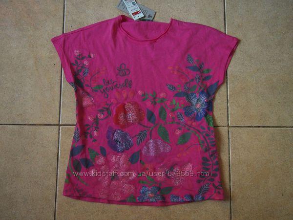 футболка benetton цветы блестки 130 органический хлопок