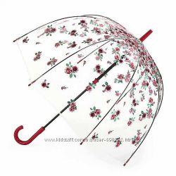 Женский прозрачный зонт-трость Fulton Birdcage-2 L042 - Rose Bud Розовый б