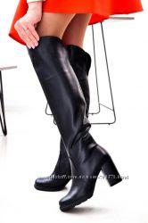 Сапоги, натуральная кожа, на устойчивом каблуке, деми и зима, черные