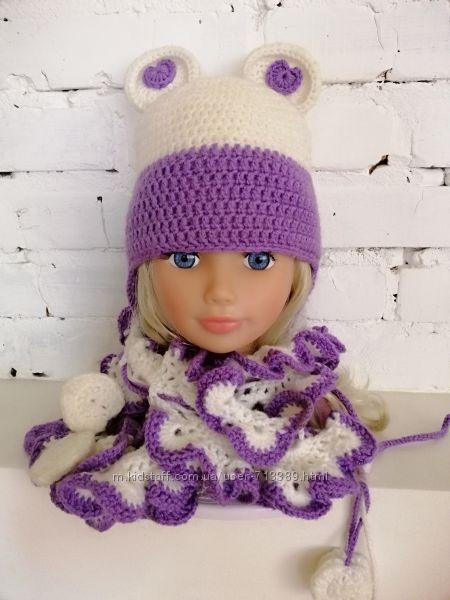 Шапка и шарф вязаные на девочку.