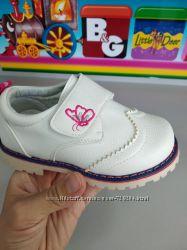 Полуботинки для девочки белые, туфли закрытые