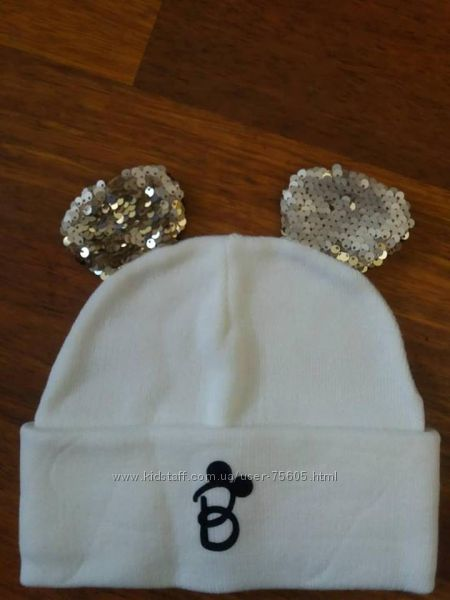 Модная шапка Микки с ушками в пайетки