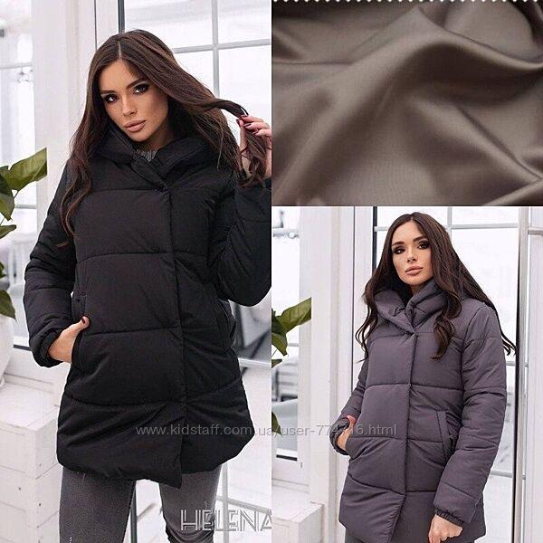 Модная женская зимняя куртка короткая матовая на змейке и кнопках плащевка