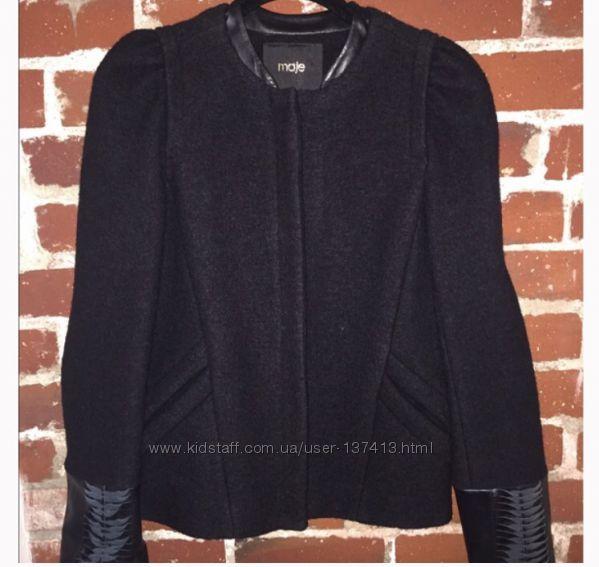 Люкс шерстяной пиджак Maje с кож вставками