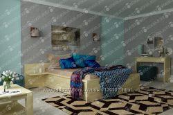 Деревянная двуспальная кровать Натали с ящиками для хранения