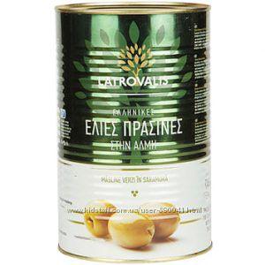 Зелёные оливки Latrovalis с косточкой 4500 Г