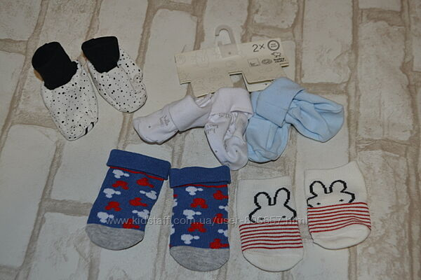 новые пинетки носочки новорожденному disney 0-3 мес Германия