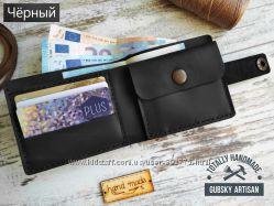 портмоне 2 отдела для купюр кошелек Мужской кожаный кошелек ручной работы