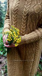 Вязаное шерстяное платье Осенний блюз