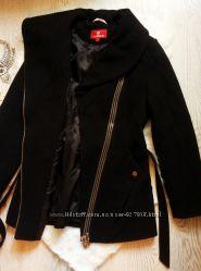 Черное теплое деми евро зима пальто косуха с карманами и молниями