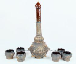 Булава с рюмками - набор для коньяка, булава на свадьбу, керамика
