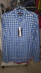 Стильная мужская рубашка ZARA в синюю клетку - р-р М