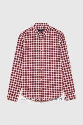 Стильная мужская рубашка ZARA в красную клетку - р-р ХЛ - на Л, ХЛ