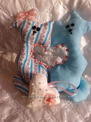 коты-неразлучники, тильда, валентинка, hand made