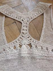 Блузка топ вязаний ніжного бежевого кольору-літня розпродаж.