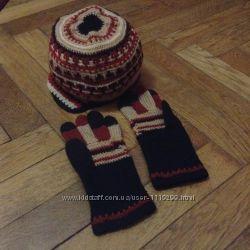 Знижка -250гр Шерстяний набір шапка  рукавички. 53-56 р. ручна робота.