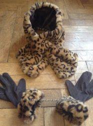 Леопардовий оригінальний набір комір і рукавички.