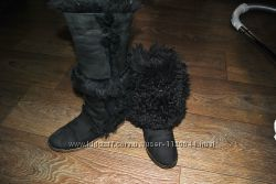 Сапоги натуральная овчина лама как дубленка тоскана черные высокие унты угг bf349a354be6c