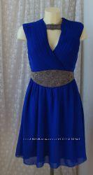 Платье шикарное вечернее нарядное синее декор Little Mistress р. 50 3713