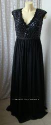 Платье женское шикарное вечернее в пол черное декор Unique р. 48 6165