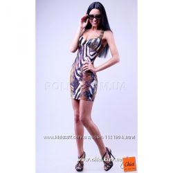 Облегающее платье-мини в  анималистический принт лето