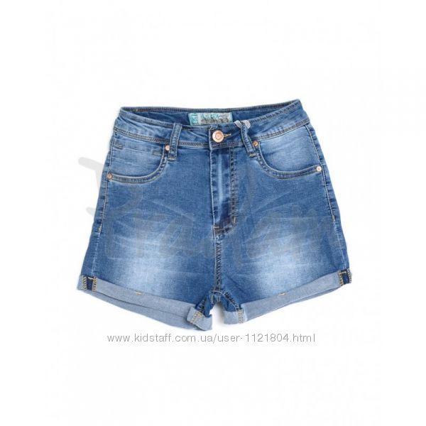 Джинсовые шорты с высокой посадкой сине-голубые  лето