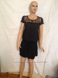 Платье-туника  летнее черное с ажурной кокеткой, XS