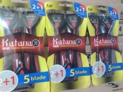Набор одноразовых  станков Katana 5, в упаковке 3 шт Оригинал Япония.