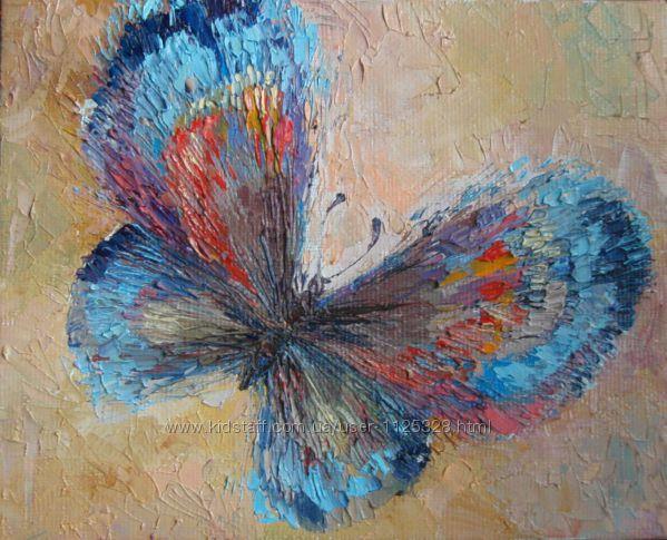 Картина Бабочка холст, масло, мастихин