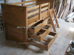 Односпальная кровать Буржуй 80190, цвет дерева, с бортами, с ящиками