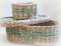 Плетеная шкатулка Ландыши