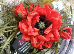 цветы из ткани брошь Красный мак