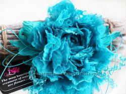 Брошь заколка цветок из ткани Пион Лазурный