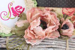 Цветы из ткани Винтажный Мак