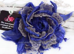 Цветы из ткани брошь Васильковая Роза
