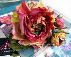 Брошь цветок из ткани Роза Цветик-Семицветик