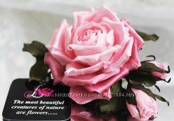 Цветы из ткани. Брошь заколка Розовая Роза